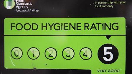 A 'scores on the doors' food hygiene rating chart displayed in a shop window. Picture: Denise Bradle