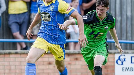 Toby Hilliard, pictured in action for King's Lynn, was on target for Dereham Town against Bury Town.