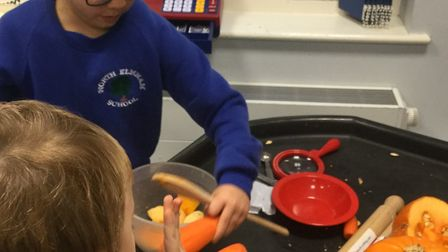 The children learned to follow a recipe, prepare vegetables and use a slow cooker. Photo: North Elmh