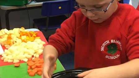 Pupils learned to make pumpkin soup at North Elmham primary school. Photo: North Elmham