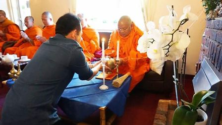 The Revere Phra Sakayaputtiyawong blessed The New Inn, Beetley, during a visit to the UK from Thaila