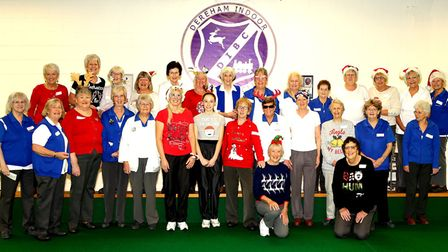 Dereham IBC Ladies pose for a picture at their Christmas Fun Day roll-up. Picture: Dennis West