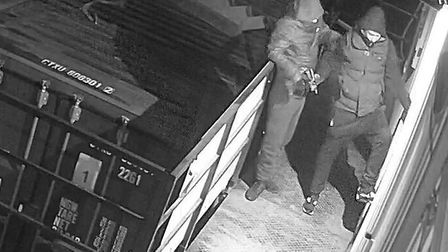CCTV cameras caught two men breaking into an Abel Homes compound in Hingham. Picture: Abel Homes