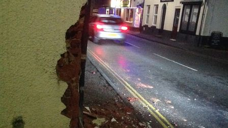 The damage caused to the corner of St Nicholas Street by the second failure to stop collision on Dec