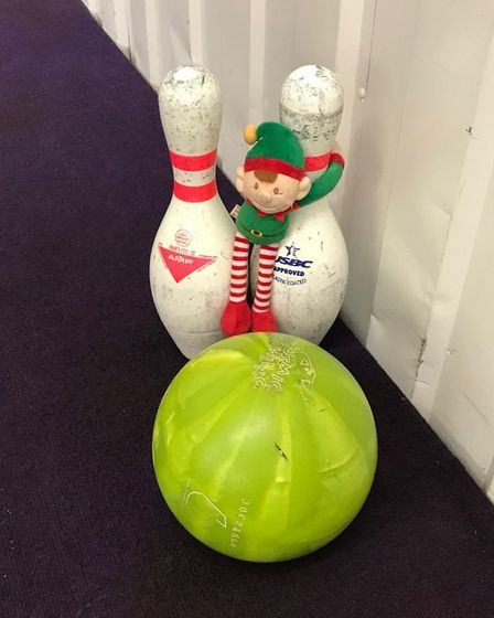 Alfie the elf has been causing mischief all around Dereham. Here he is at Strikes bowling alley. P