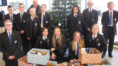 Year 8 pupils with their Christmas hampers. Picture: Northgate High School