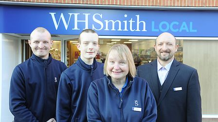 Running the WHSmith store in Dereham are family members (from left) Chris, James, Maria and Phil Sto