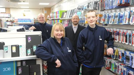 Running the WHSmith store in Dereham are family members (from left) Chris, Maria, Phil and James Sto