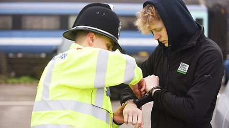 Taking part in a drink driving training exercise are student police officer Steven Long and Easton C