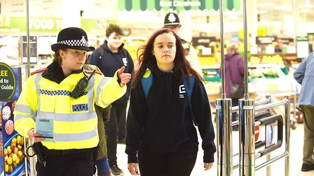Breckland student police officer Tiffany Haggith and Easton College student Alicia Fairweather takin