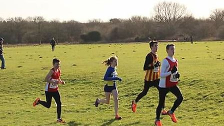 Under-15 Dereham runners (red vests) in action at Thetford. Picture: Samantha Ling