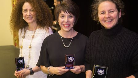 Prizewinners, from left to right, Emma Potter-Campbell, Paula Olley and Carol Devlin at Dereham Runn