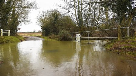 The flooded ford on Podmore Lane in Scarning. Picture: Ian Burt