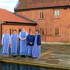 Sr Camilla Oberding, left, with the sisters of the Community of Our Lady of Walsingham at the new co