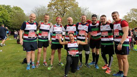Rob Crockford (second left) with his team at the London Marathon in 2017. Picture: Family
