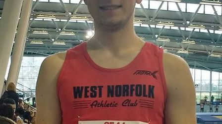 Dereham Runners' Nathan Protheroe at the South of England Indoor Championships. Picture: Dawn Prothe