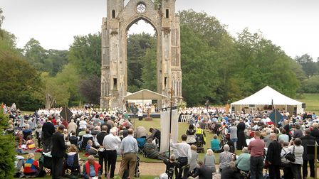The Anglian pilgrimage at the Walsingham Abbey grounds. Picture: Colin Finch