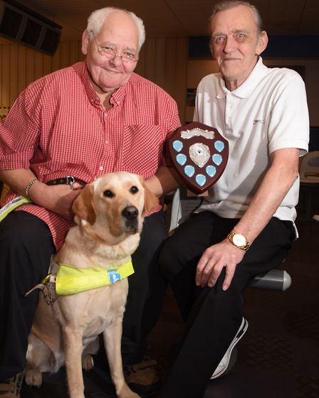 David Shepherd, right, who is planning a 12 hour ten pin bowling marathon to fundraise for Guide Dog