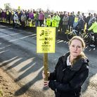 Residents of Mattishall protest against the 90 new housed proposed to be built on the edge of the vi
