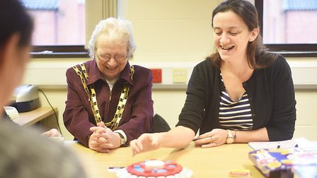 Dereham Mayor Hilary Bushell and Nicola Ruggles playing Think Words at the adult education class. Pi