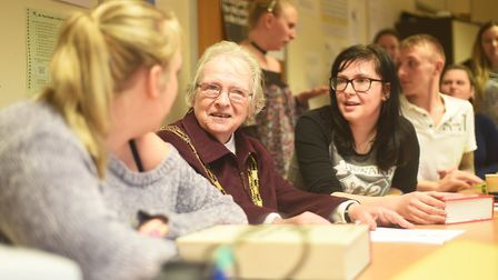 Dereham Mayor Hilary Bushell speaking to (L) Tracey Walsh and Keeley Carter at the adult education c