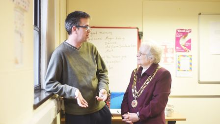 Dereham Mayor Hilary Bushell speaking to Christopher Irwin at the Breckland Business Centre. Picture