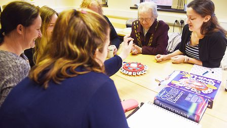 Dereham Mayor Hilary Bushell joined members of the adult education class for a game of Think Words.