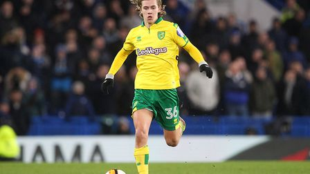 Todd Cantwell in action for the Canaries at Stamford Bridge last night. Picture by Paul Chesterton/F