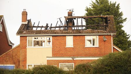 The front of the burnt out property on Bradenham Road in Shipdham. Picture: Ian Burt