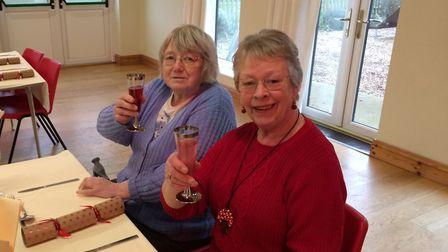 Gillian Sillett, left, and Sandra Evans before the meal was served. Pictures: David Bale