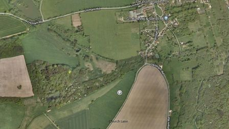 Google Map image of land at Church Farm, Church Lane, Gressenhall, where a new campsite is proposed.