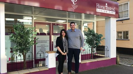 Operations manager Tom McEwan with wife Laura, head of clients, at the King's Lynn branch, before th