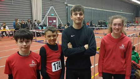 Dereham Juniors at the Norfolk Indoor County Championships at King's Lynn. Picture: Michael Prother
