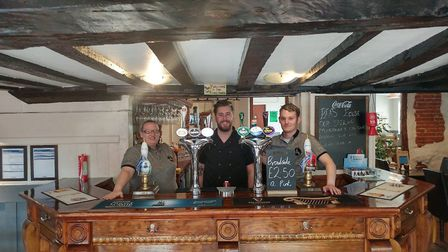 Co-owners of The Rusty Tap in Dereham, Louise Wolliter, Kane Hooper and Ben Watkins. Picture Sam Wol