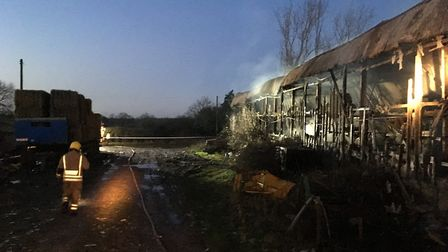 The aftermath of the fire in Scarning. Picture: Environment Agency East Anglia