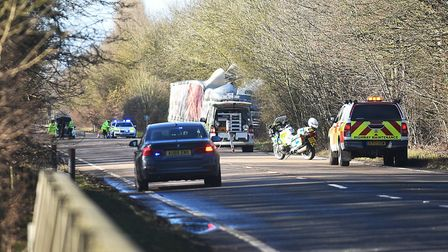The A47 remains closed at Scarning, whilst emergency services attend to the serious crash involving
