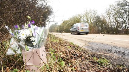 Flowers next to the A47 at Scarning where two lorries crashed. One person died in the accident. Pict