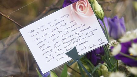 A hand written tribute left with flowers next to the A47 at Scarning. Picture: Ian Burt