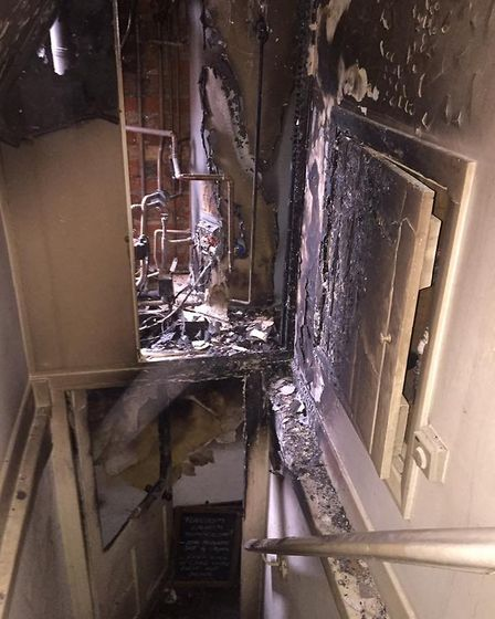 The aftermath of the fire at the Queen's Head in Foulsham, near Dereham. Picture: Saon Kirk