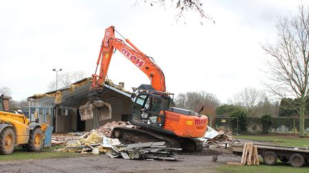 Lyng Village Hall has been demolished to make way for a new modern community facility. Bulldozers se
