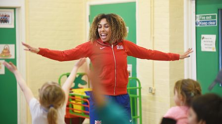 Commonwealth Games silver medalist Laura Samuel visited Dereham Church Infant School as part of the