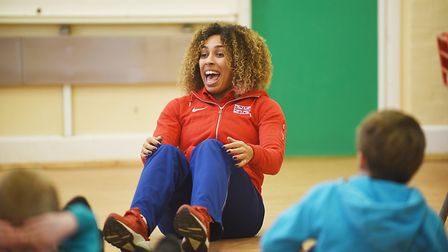 Commonwealth Games silver medalist Laura Samuel held training sessions with pupils at Dereham Church