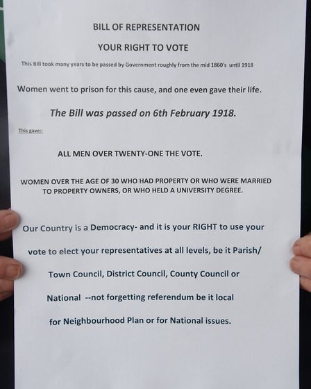 The leaflet handed out to passers by in Dereham at the event to mark the 100th anniversary of the pa