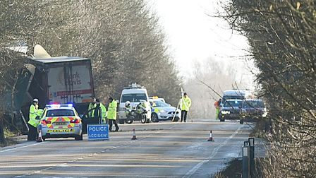 The A47 when it closed at Scarning after a serious crash involving two lorries. Picture: Ian Burt