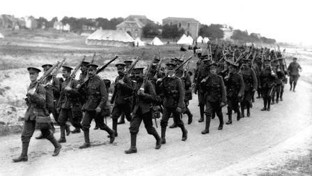 British infantrymen on the march in 1916 in Northern France during the First World War. Picture: Arc