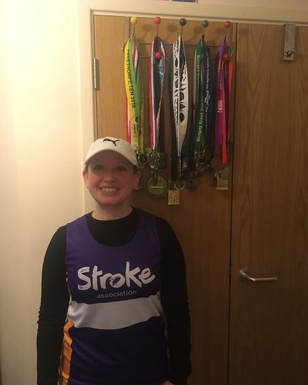 Rebecca Hardy with her other marathon medals. Picture: Rebecca Hardy.