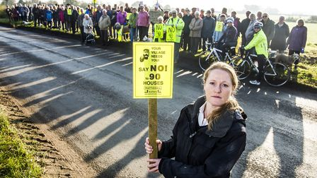 Residents of Mattishall protest against the houses proposed to be built on the edge of the village.