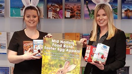 Marie O' Callaghan and Chloe Elmar from Premier Travel in Dereham launch the branch's Easter campaig