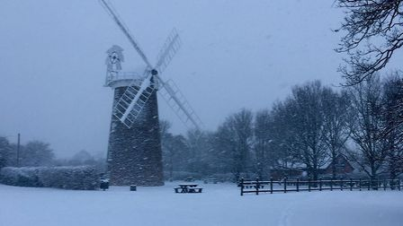 Dereham Windmill in the snow (February 2018). Picture: ALI BEST