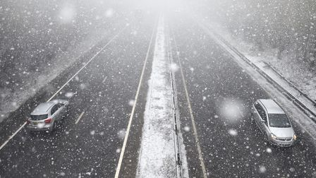 Snow shower over the A47 at Colney.Picture: ANTONY KELLY